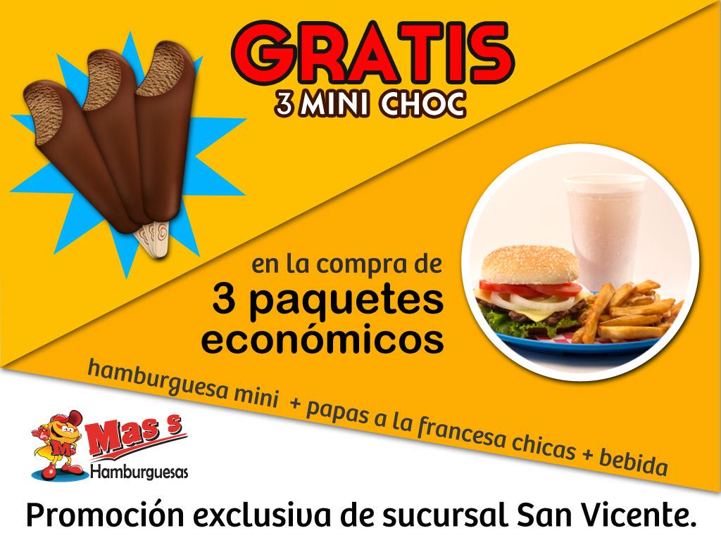 3 minichocs gratis.