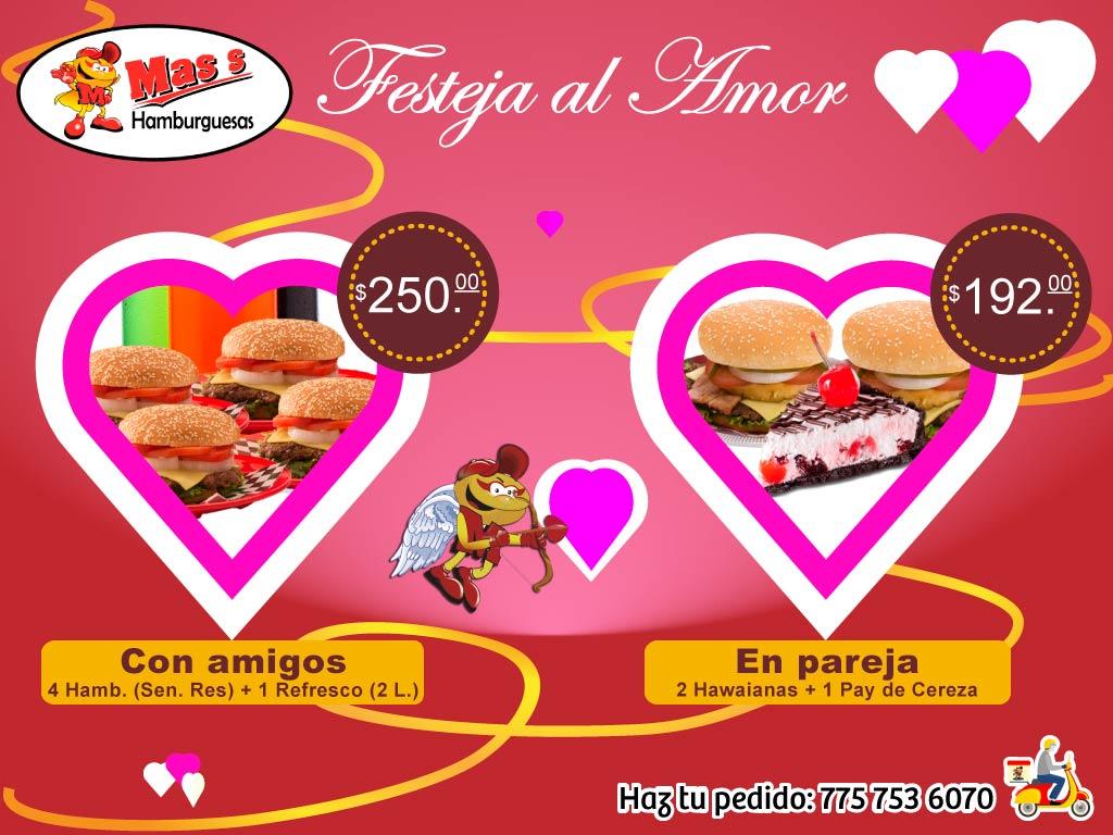 Promoción San Valent+in 2 hamburguesas hawaianas y un pay de cereza: 192 pesos